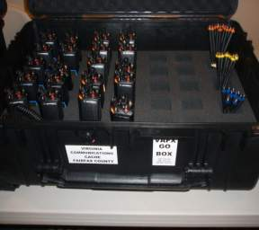 Cache Radio Boxes - The Caches have radios in UHF, VHF and 800 mhz the radios are kept in easily deployable kits with batteries, antennas and lapel mics.